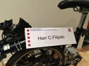 Faltrad mit Namenschild